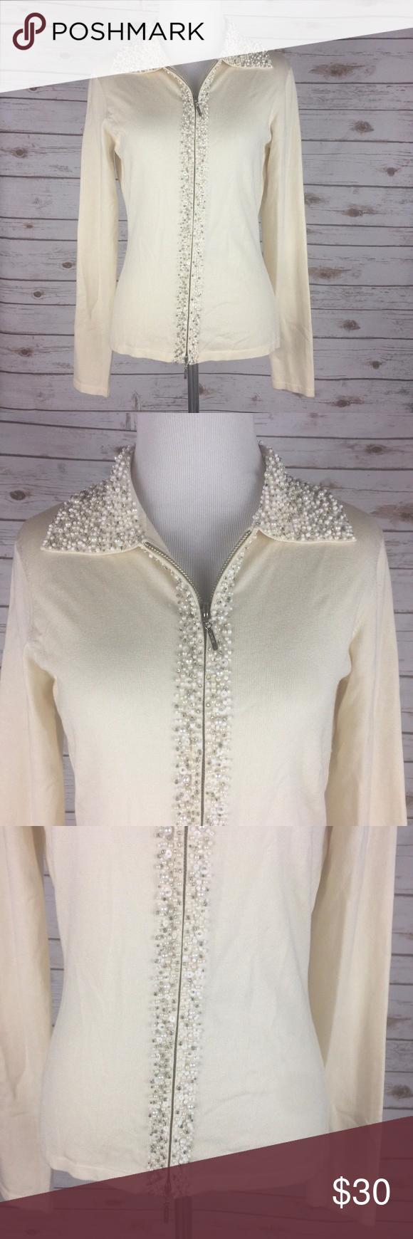 Cache Medium Silk Blend Cream Cardigan Sweater Cache Thin Knit ...