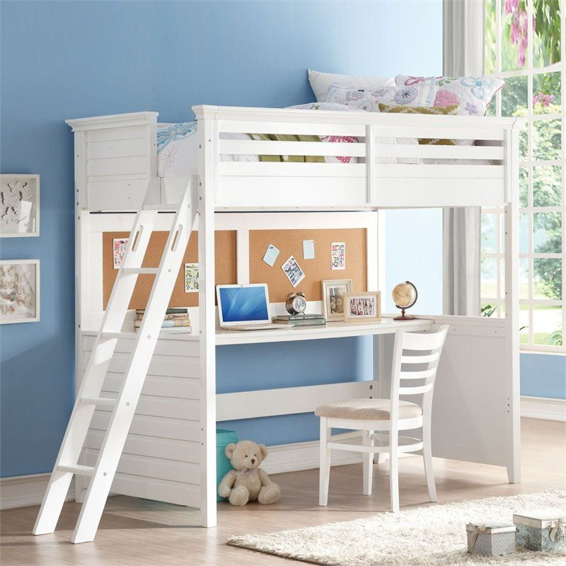 ACME Furniture Lacey Twin Loft Bed with Desk in White in