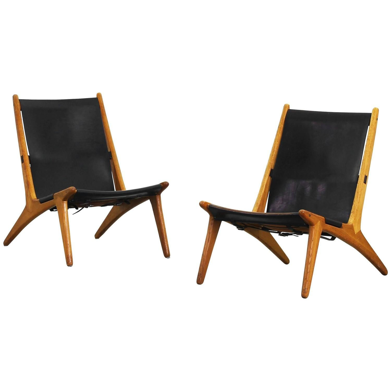 Pair of Beautiful Lounge Hunting Chairs by Uno & Osten