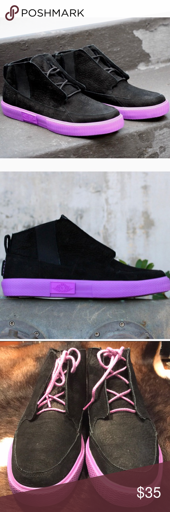 Nike Jordan V.2 Grown Black Bright Violet Spark Preowned GUC Mens Nike Air 0a6d29355