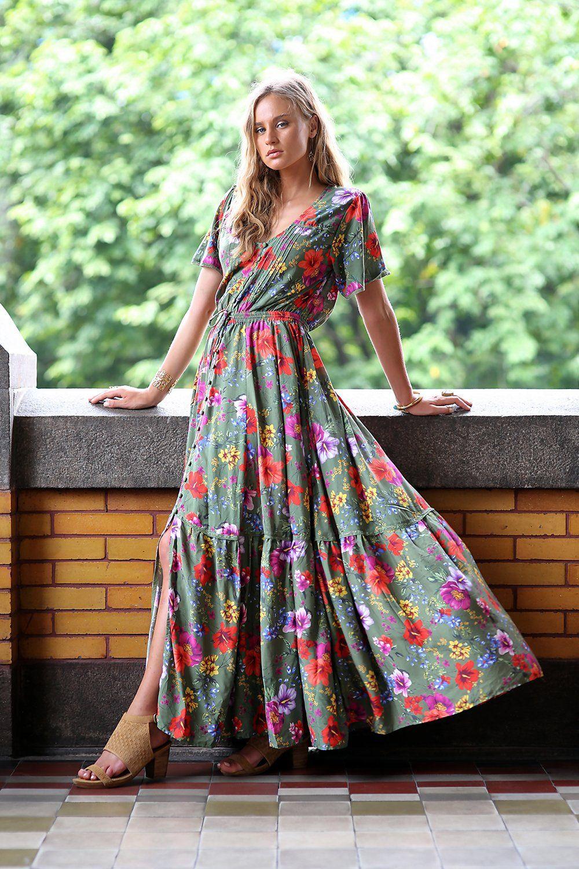 621a1855b4a6 Esmeralda Maxi Dress - Khaki - Tulle and Batiste   Colourful clothes ...