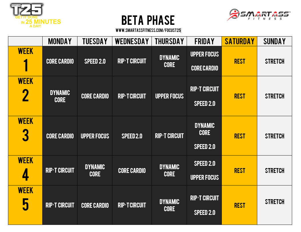 in case i forget: the focus t25 beta schedule - 2 weeks until we