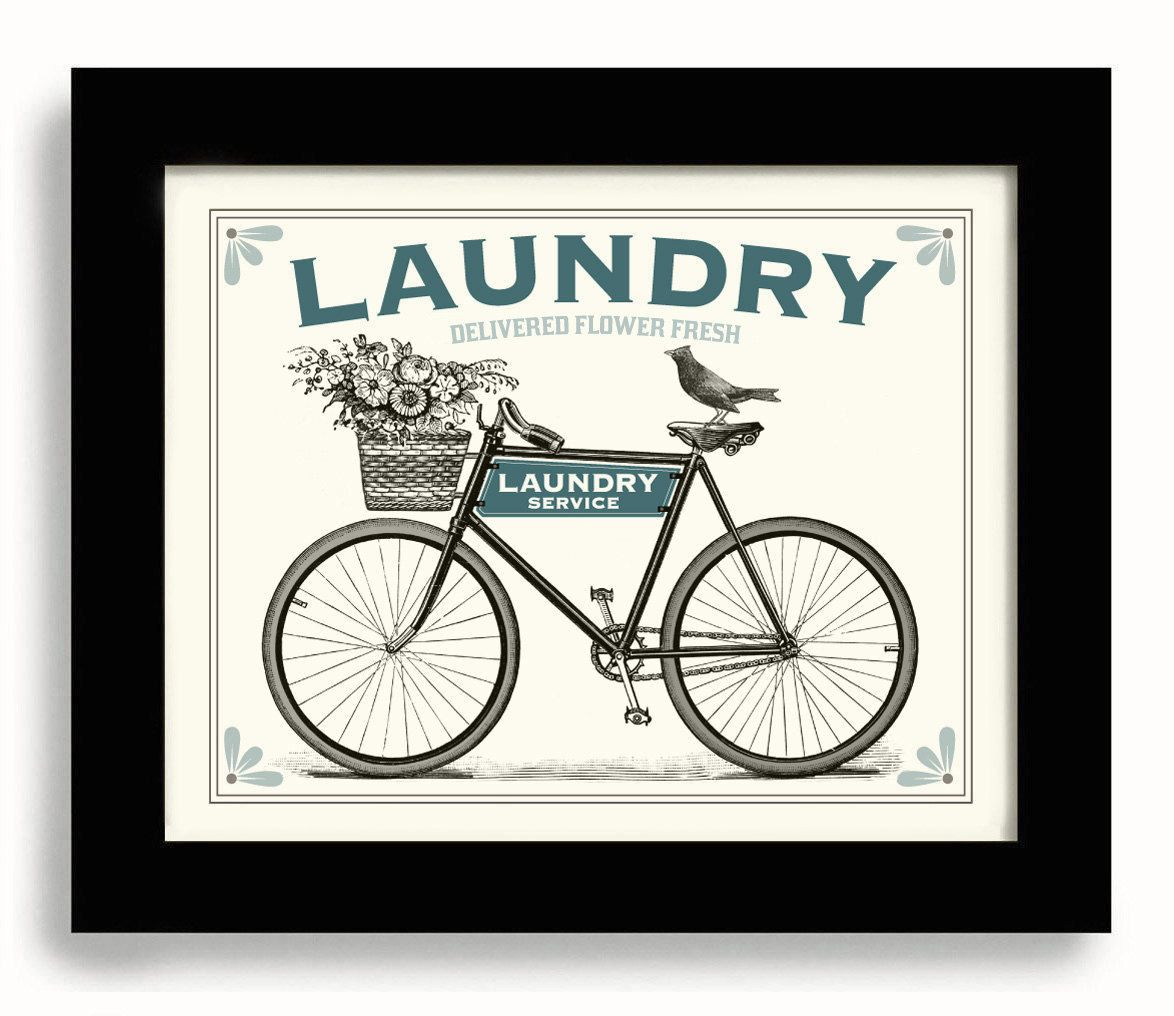 Clothes Wash Signs: Laundry Room Decor French Laundry Sign Wall Art Print