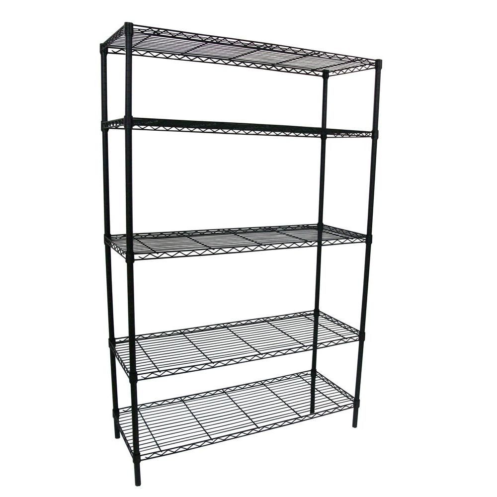 Hdx Black 5 Tier Steel Wire Shelving Unit 36 In W X 72 In H X 16 In D 21656ps Yow The Home Depot Wire Shelving Shelving Unit Freestanding Shelving Units