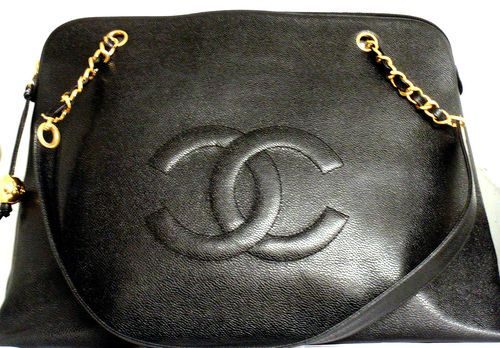 Authentic Vintage Chanel Jumbo Caviar Logo Overnight Zipper Tote Bag Ebay 3 200
