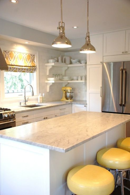 All White Kitchen With Yellow Accents Love The Roman Shade