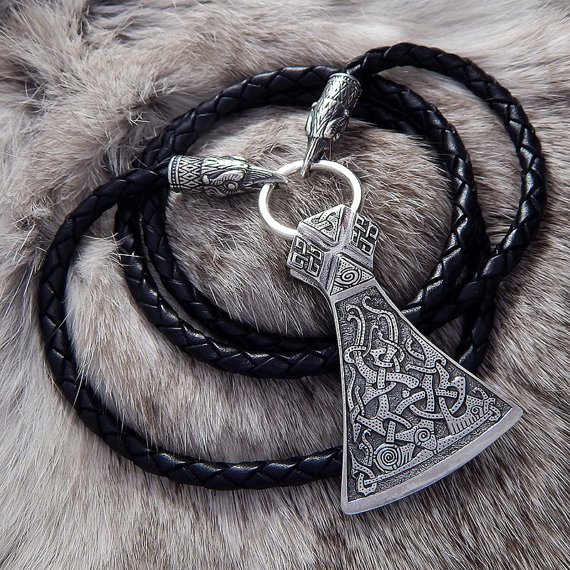 Viking Necklace with the Sterling Silver Mammen Axe and Leather Braided cord with Wolves, Ravens or Bears heads .