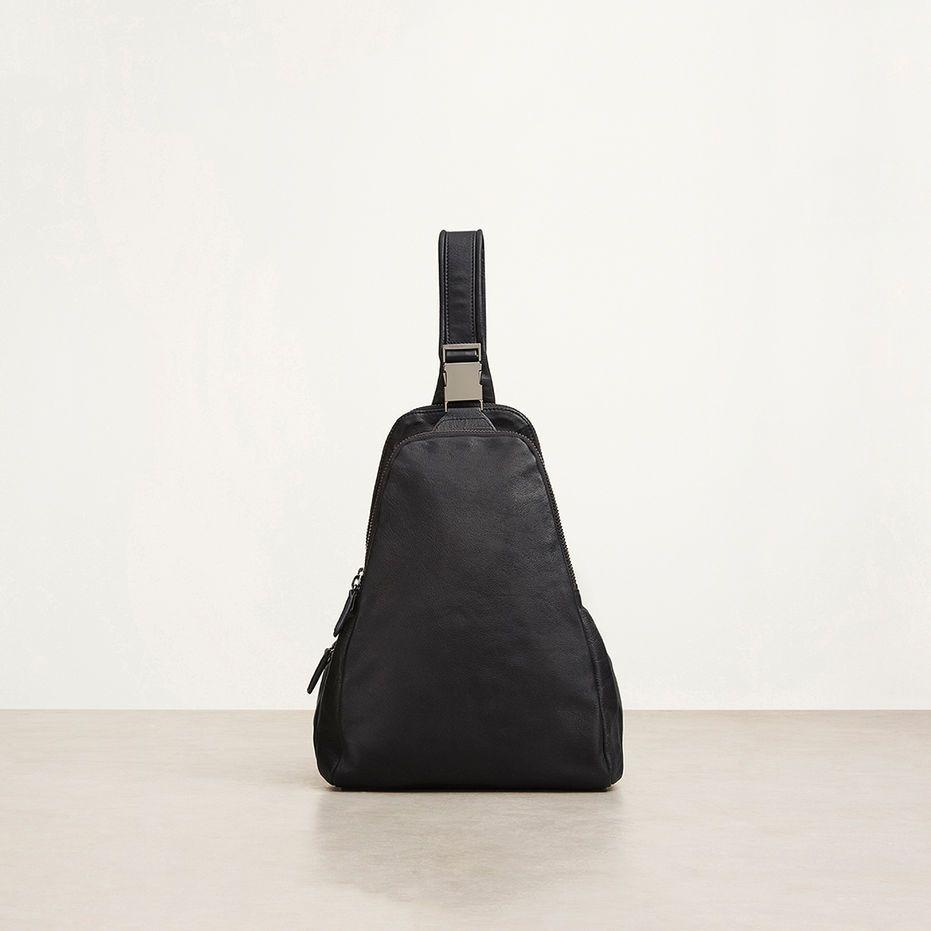 Baxter Leather Trapunto-Stitched Crossbody, BLACK