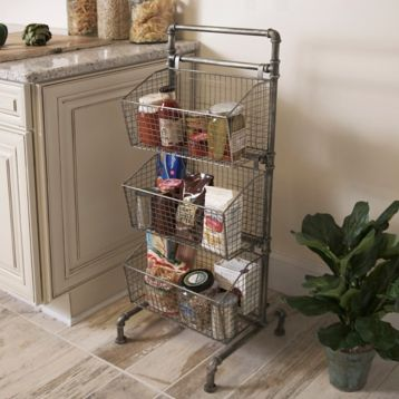 Industrial 3 Tier Metal Basket Tower Metal Baskets Discount Home Decor Storage