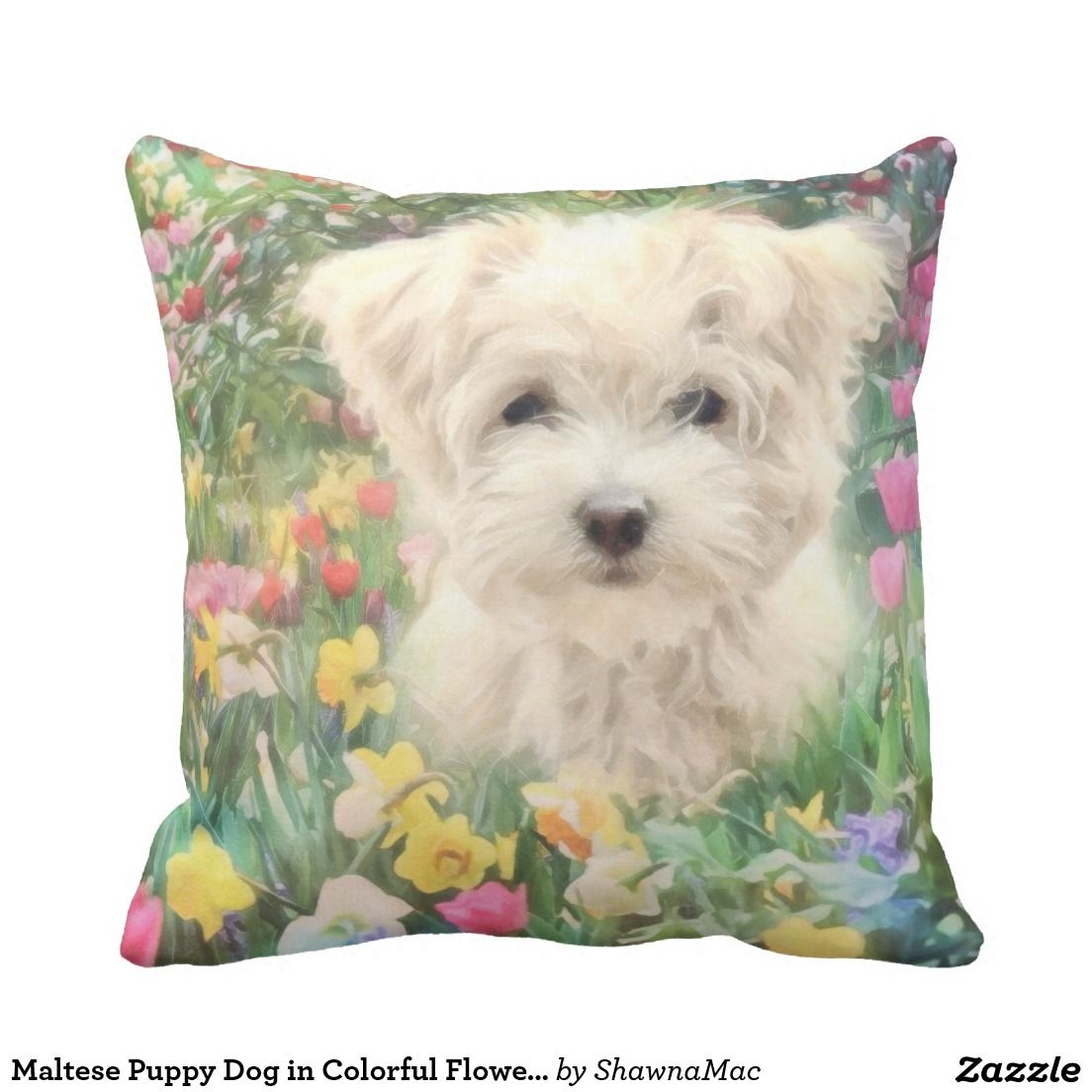 Maltese Puppy Dog in Colorful Flowers Pillows Puppy
