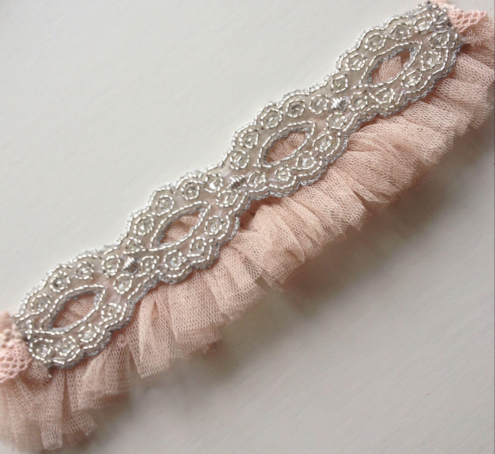 Wedding Entourage Hairstyle: Florrie Mitton Blush Silk Tulle Goddess Garter (With