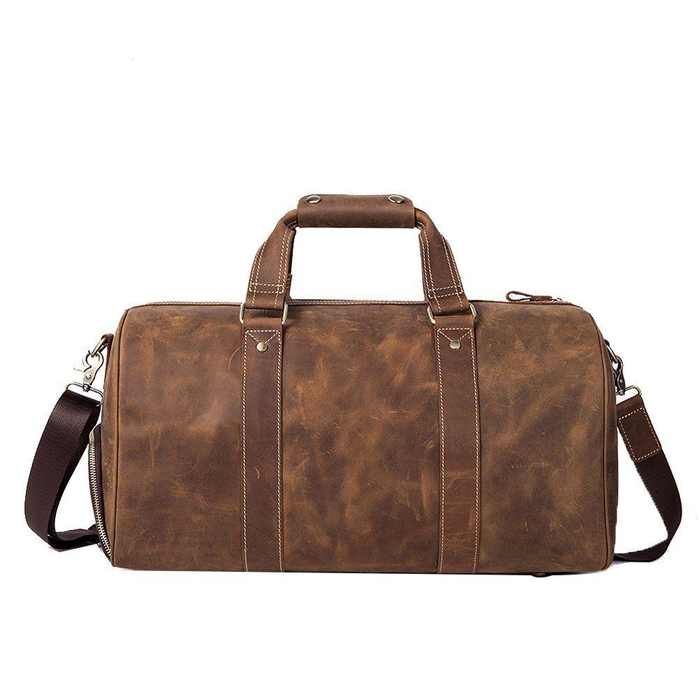LECONI Shopper en toile + cuir Look vintage Petit sac pour le weekend Bagage à main Sac de voyage Sac de sport Sac de fitness Unisexe Dames + Hommes 45x30x20cm gris LE2008-C qkl65
