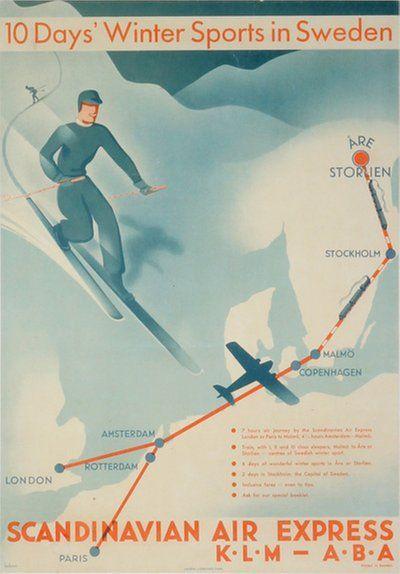 Scandinavian Air Express Klm Aba To Are Storlien Scandinavian Ski Posters Vintage Posters
