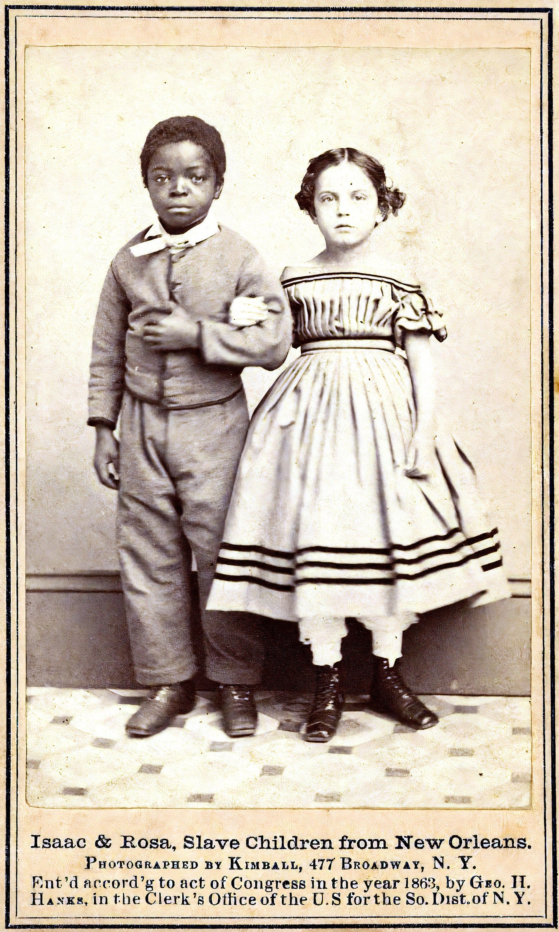 EMANCIPATED SLAVE CHILDREN from Louisiana, Instant Digital Download Art Print in 4 Sizes, 1863 Photo Reproduction, Isaac & Rosa