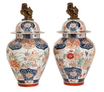 SAMSON Paire de vases couverts en porcelaine à décor bleu