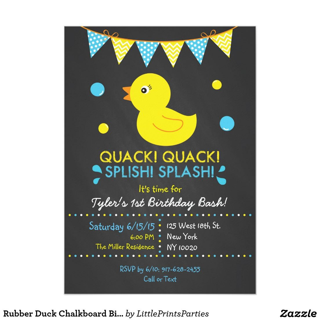Rubber Duck Chalkboard 1st Birthday Invitation Zazzle Com Chalkboard Invitation Birthday 1st Birthday Invitations Chalkboard Baby Shower Invitation