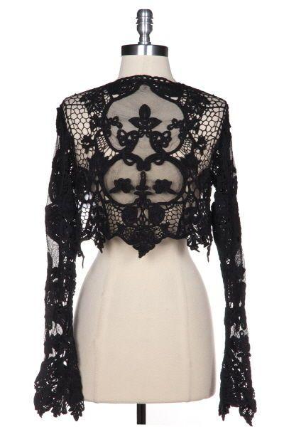 96e8cfd948 Vintage Style Victorian Lace Cardigan Cropped Shrug Bolero Jacket Black NEW  XS