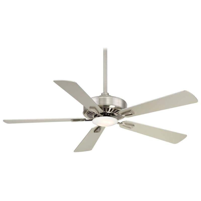 """MinkaAire Contractor Plus LED 52"""" 5 Blade Indoor Ceiling Fan with Integrated LED Brushed Nickel Fans Ceiling Fans Indoor Ceiling Fans"""