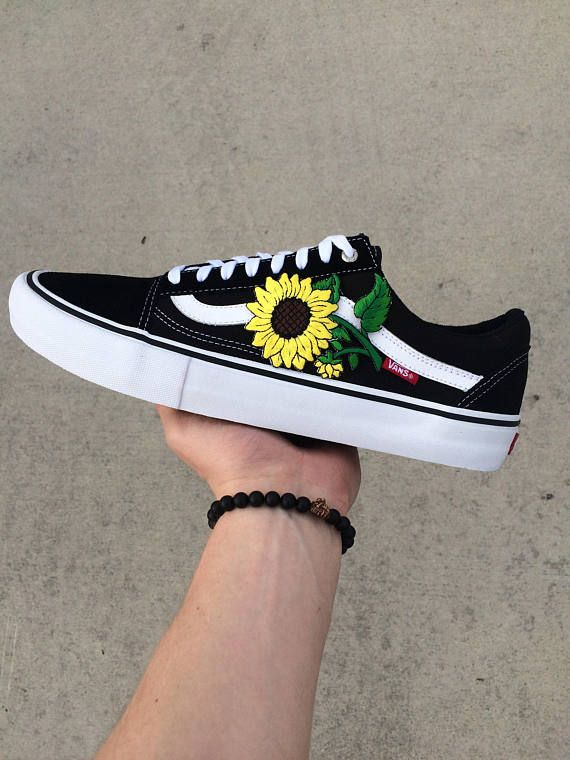 Unisex Sunflower Floral Embroidered Patch Old Skool Sk8 Vans ... cda4e7eb9
