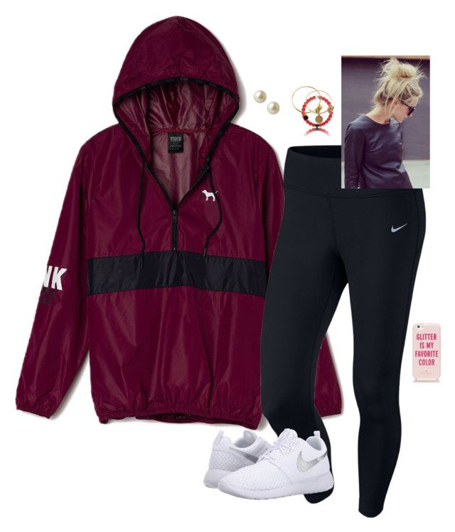 """""""For the wages of sin is death, but the gift of God is eternal life through Jesus Christ our Lord. -Romans 6:23"""" by oh-so-rachel ❤ liked on Polyvore featuring Victoria's Secret PINK, NIKE, Carolee, Alex and Ani and Kate Spade"""