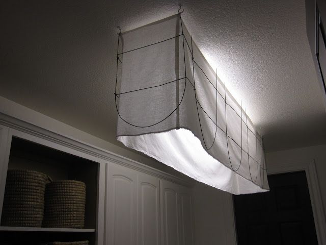 Fabric and metal shade to cover an ugly light fixture