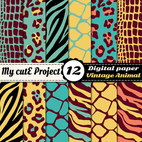 Digital Paper: Wild Animal Print  Scrapbooking & by Mycuteproject