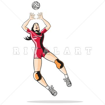 Sports Clipart Image Of Volleyball Player Setting Color Woman Volleyball Images Women Volleyball Players