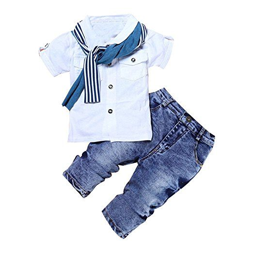 Amazon.com: Efaster® 1Set Kids Baby Boys Short Sleeve T-Shirt Tops+Scarf+Trousers Clothes Outfits (3T): Clothing