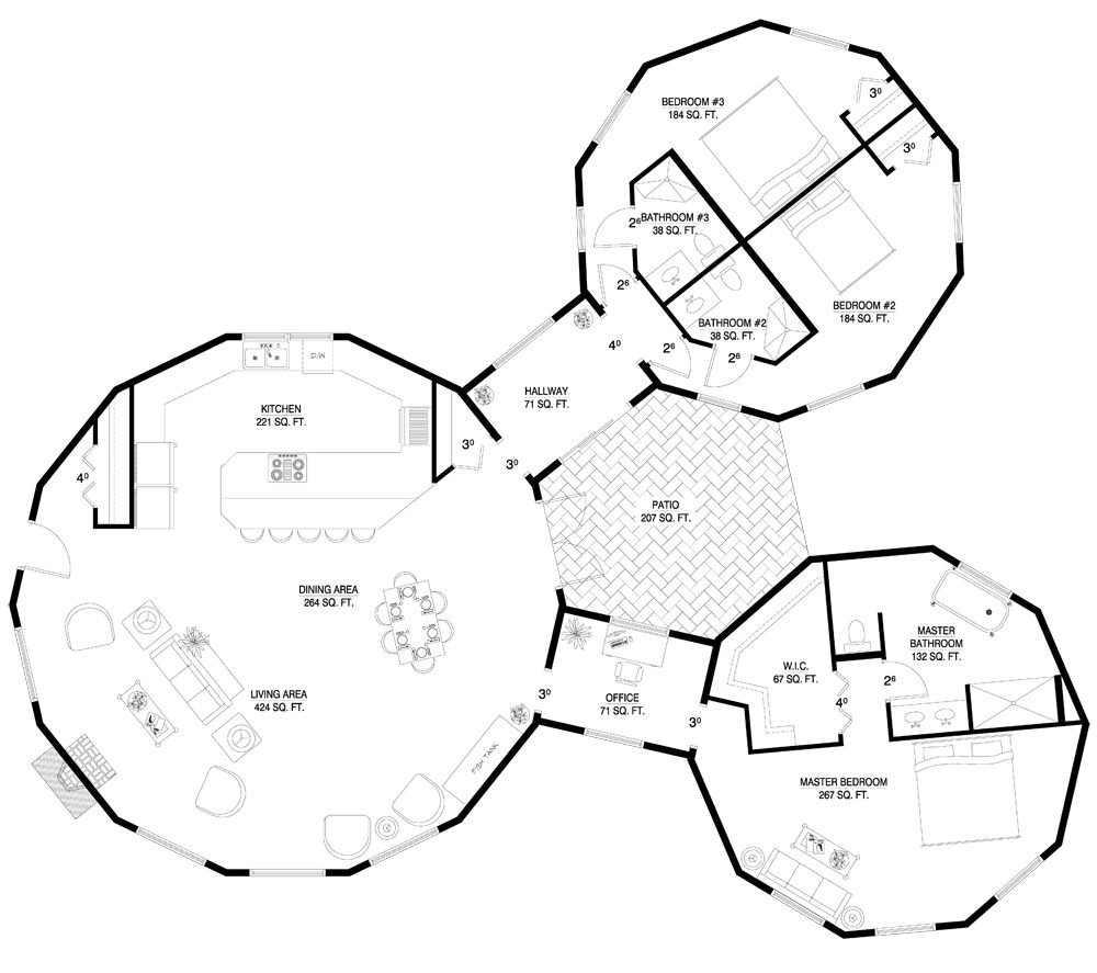 Dome Home Plans: Round House With Courtyard.