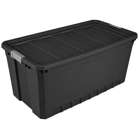 Sterilite 50 Gal Stacker Tote Black Walmart Com Sterilite Plastic Box Storage Stackable Storage Boxes