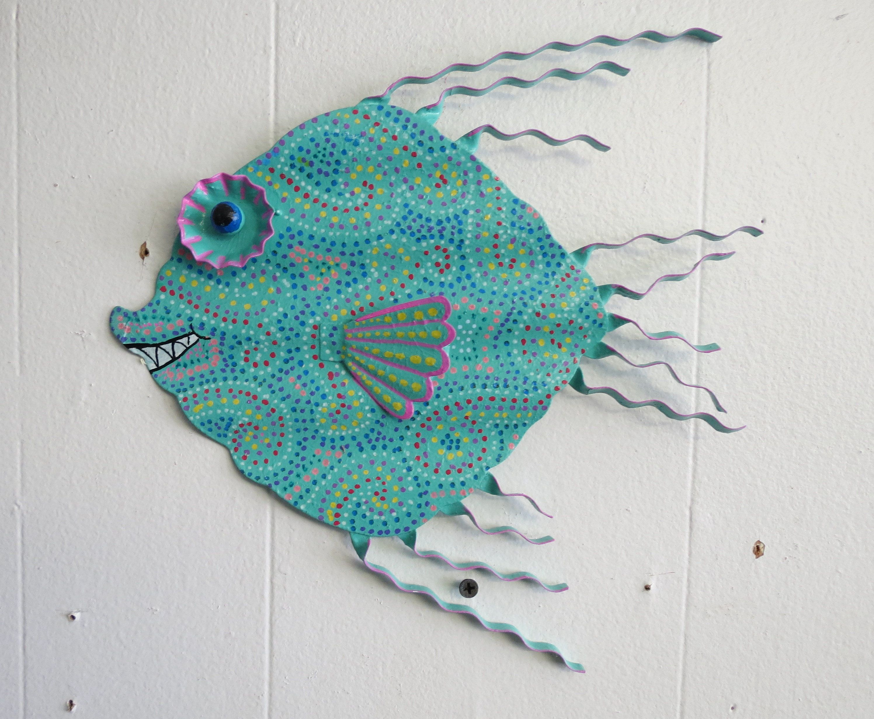 Fun whimsy metal fish wall or outdoor art hand painted decor beach