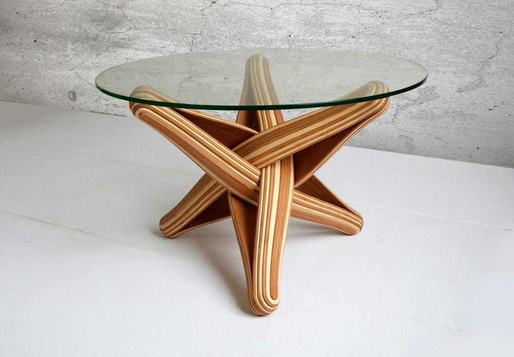 Lock Coffee Table Uses Flexible Bamboo Layers Handwerk Meubels