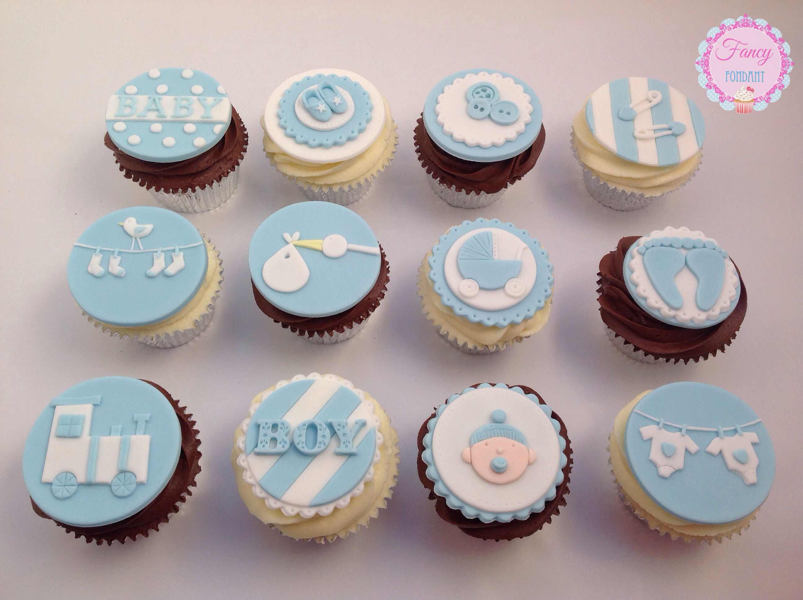 Baby Boy Baby Shower Cupcakes ~ Baby boy baby shower cupcake set by emily at fancy fondant cakes