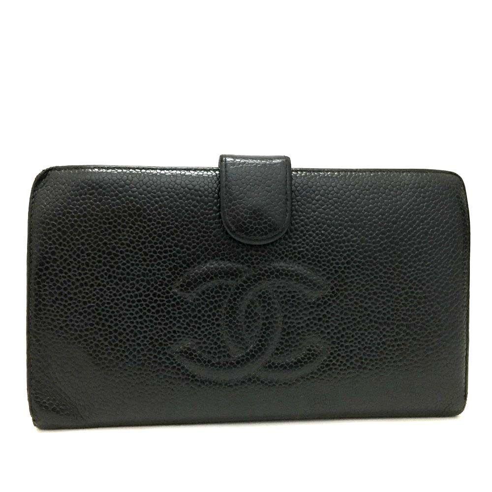 chanel card holder black caviar