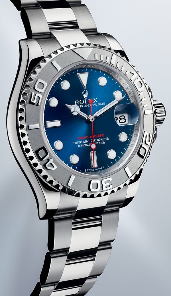 The Rolesium Version Of The Rolex Yacht Master 40 With A Blue Dial And Oyster Bracelet Rolex Watches Rolex Yacht Master Rolex Oyster Perpetual