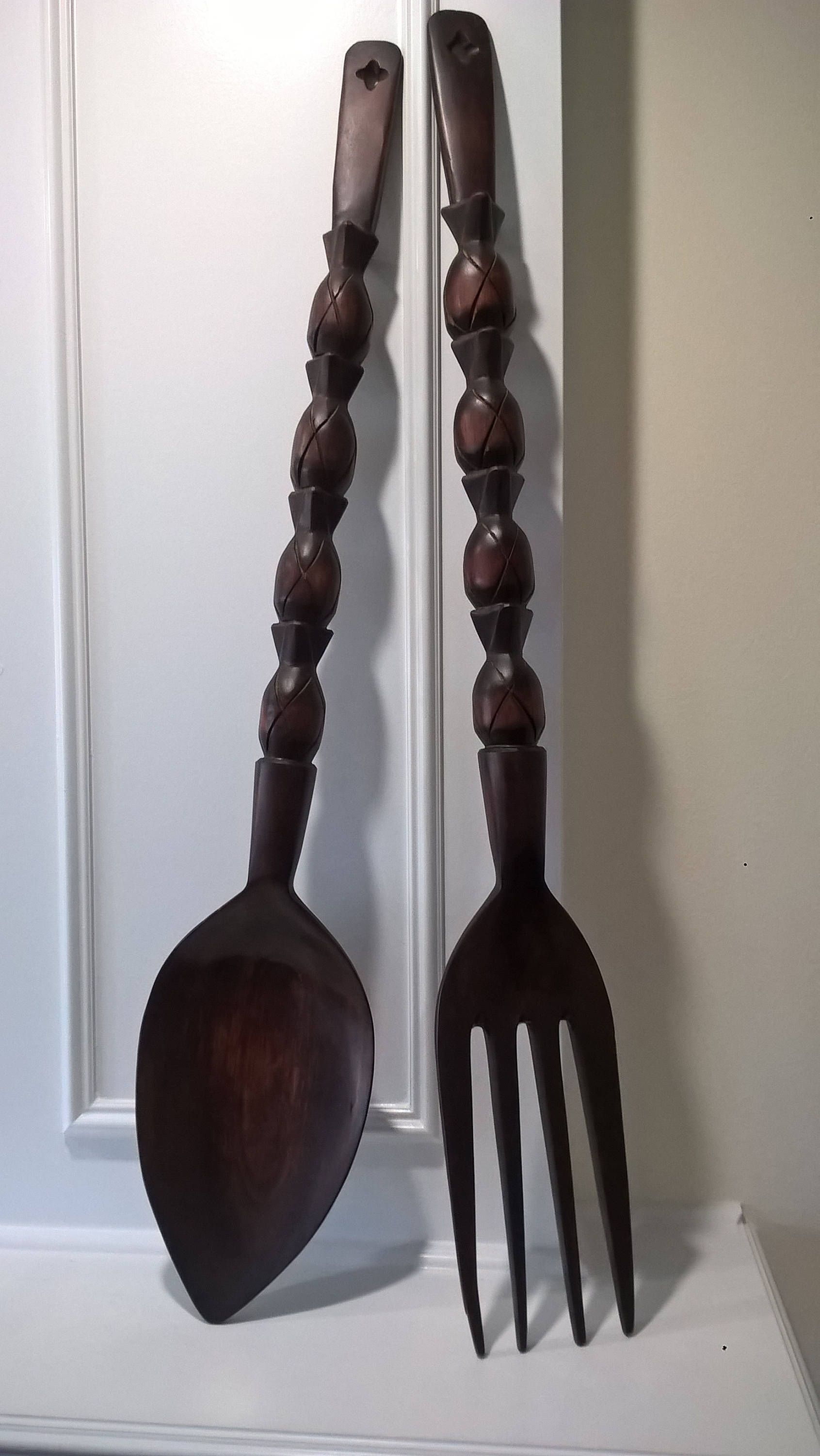 Vintage Extra Large Wood Fork And Spoon Wall Decor Retro 70 S Era