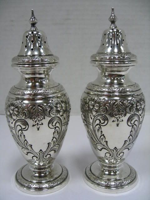 Lovely Antique Silver Sterling British Salt Pepper Bowls Antiques