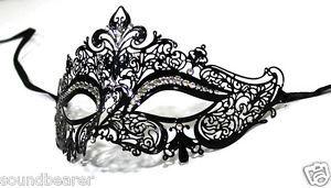 Royal Crown Laser Cut Venetian Masquerade Metal Filigree Mask w/ Rhinestones