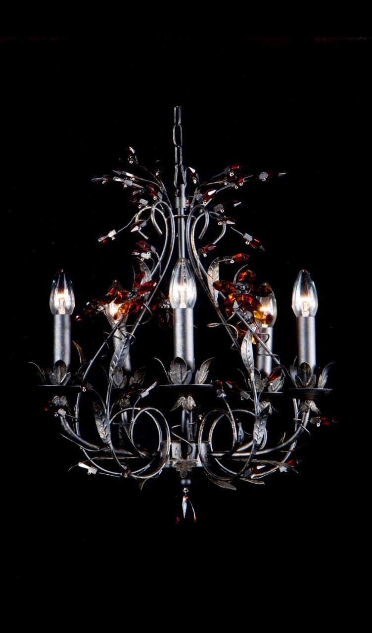 French Provincial Rustic Iron Amber Crystal Chandelier Crystal