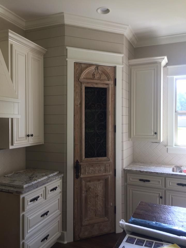Antique Pantry Door And Shiplap Modern Farmhouse Kitchens Farmhouse Kitchen Cabinets Kitchen Pantry Doors