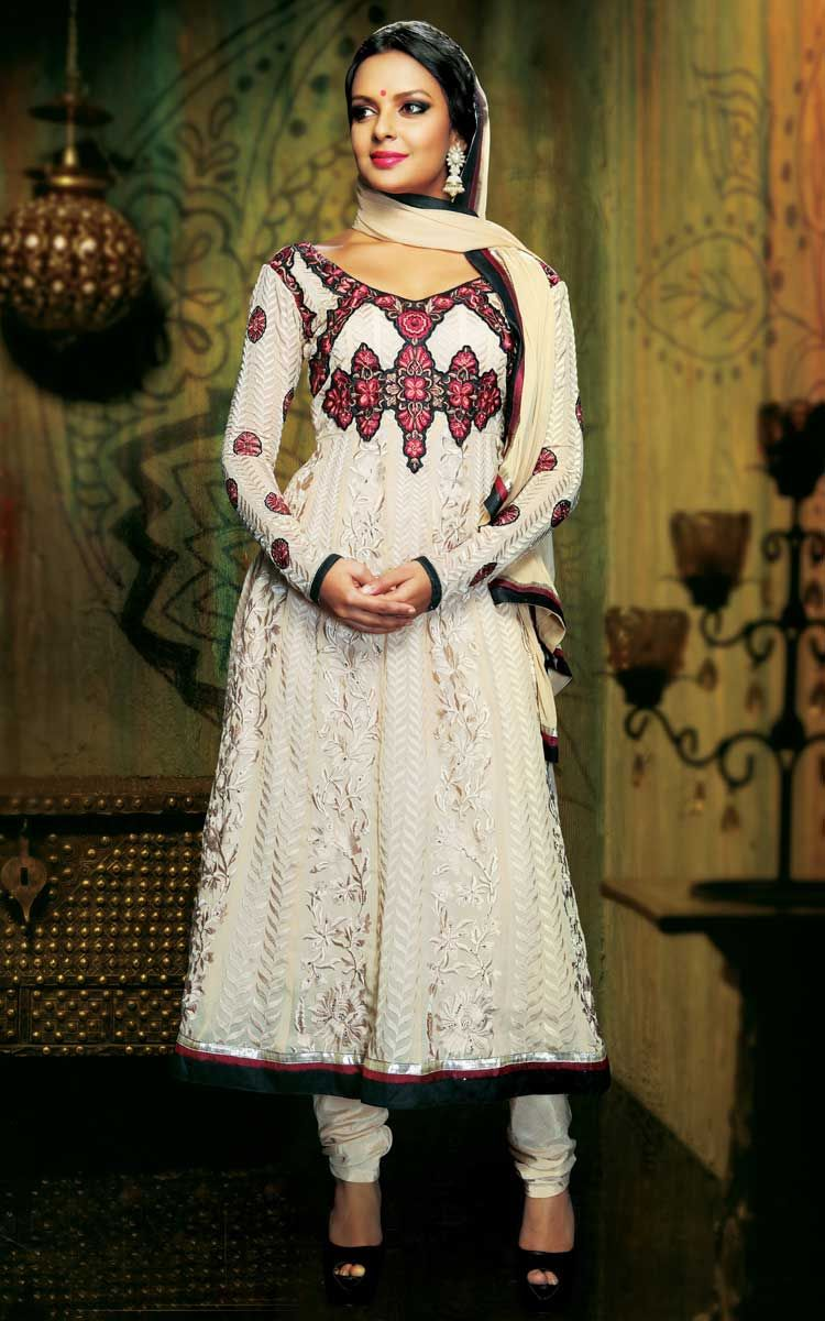 OFF WHITE GEORGETTE ANARKALI SALWAR KAMEEZ - DIF 29276