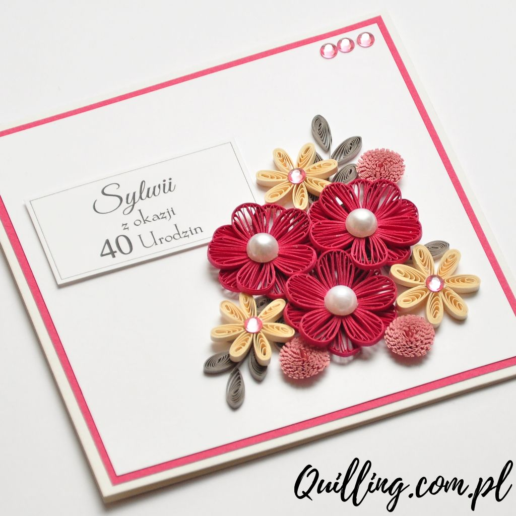 quilling, husking, DIY, handmade,greeting card, birthday, 40th ...