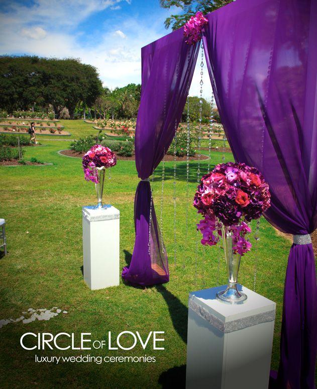 Outdoor November Wedding Flowers: Purple Draping