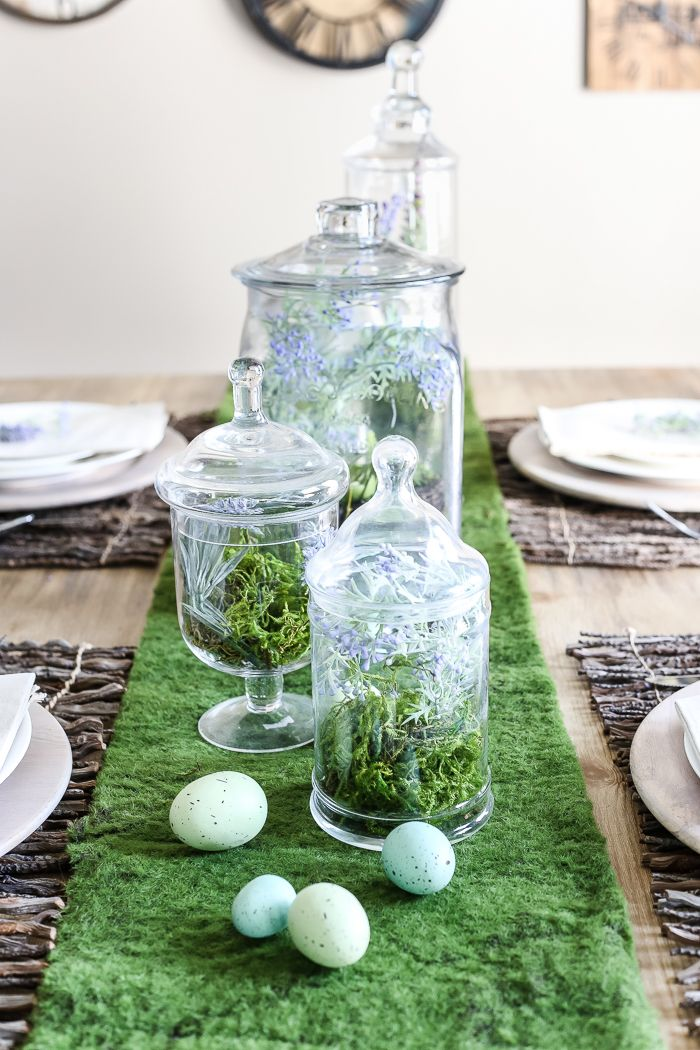 Apothecary Jar Terrarium Easter Centerpiece | blesserhouse.com - An apothecary jar terrarium Easter centerpiece and tablescape for a vintage style look with a budget-friendly price tag, plus more Easter entertaining ideas #easter #apothecary #tablescape
