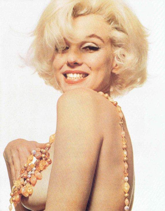 Matted Marilyn Monroe Print Vintage Topless with Beaded Necklace ...
