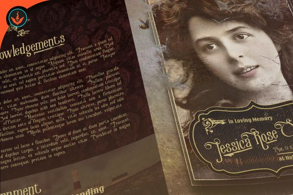 Victorian Style Funeral Program Creativework  Brochure Design