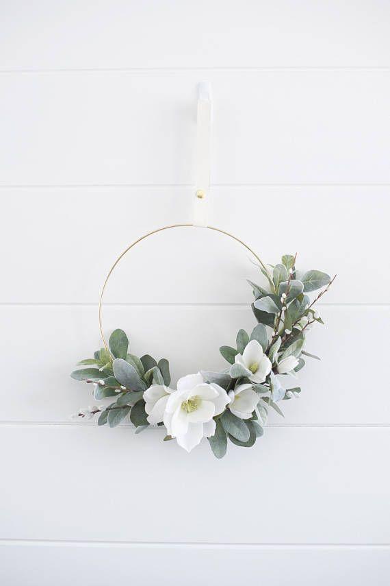 Photo of Modern spring garden blooms & branches wreath Bridal hoop | Spring wreath | Tire wreath | Summer wreath | Front door wreath | Green wreath