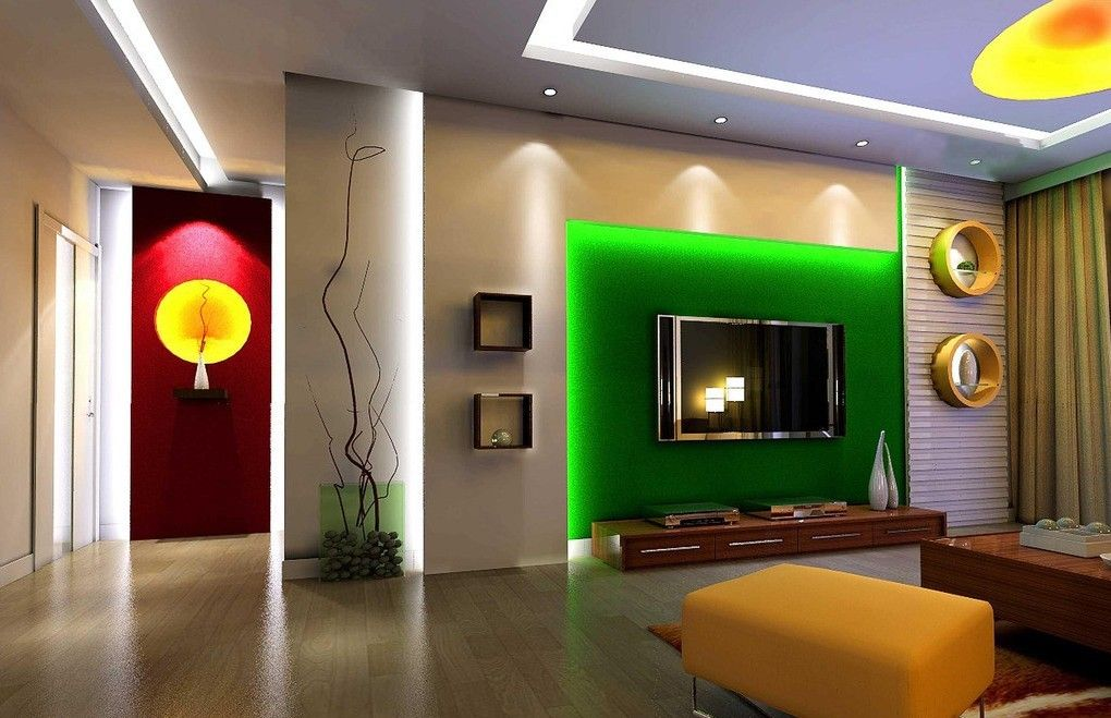 Living Room Picturesque Interior Featuring TV With Green Lighting Wooden Storage Circle And Square Floating Shelf Ceiling Lamp Table Laminated