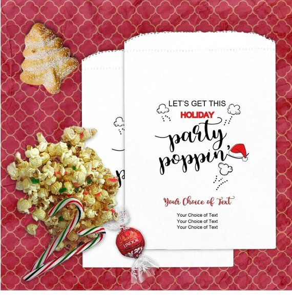 24 Personalized Holiday Party Popcorn Bags - Let\u0027s Get This Holiday