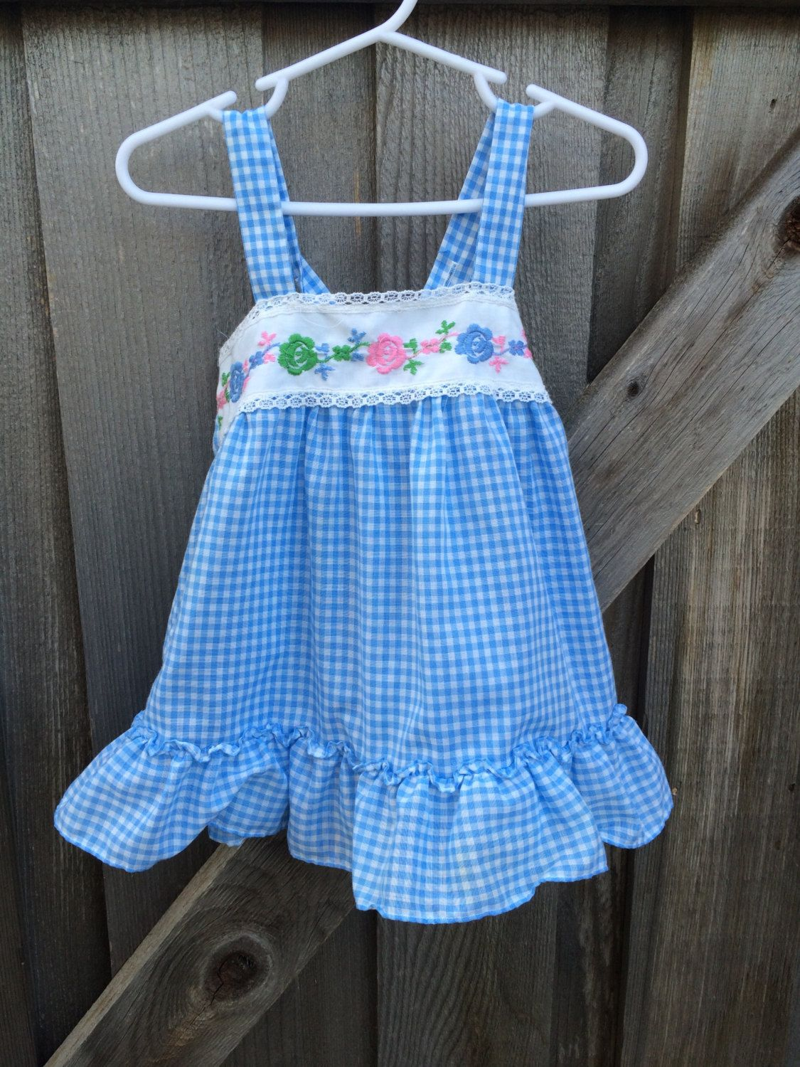 70s Blue Gingham Dress 2T/Toddlers 2 by lishyloo on Etsy